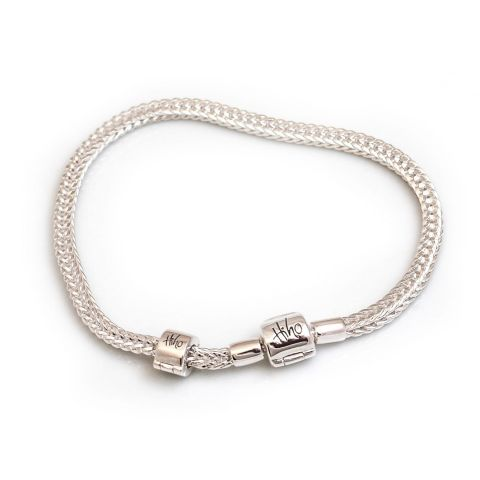 Hiho Silver Foxtail Charm Bead Bracelet with stop bead