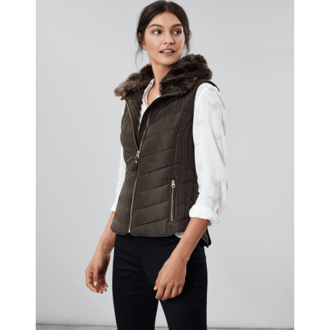 Joules Ladies Maybury Chevron Padded Gilet with Hood